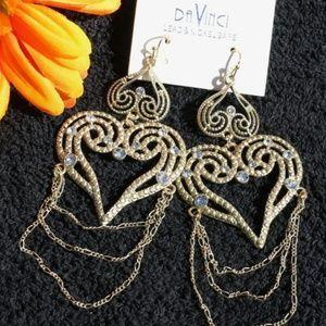NEW! Large Boho Earrings Heart Dangles Gold Bling